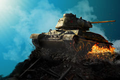 Tank on a pile of rubble Stock Image