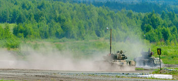 Tank platoon in action. Russia Royalty Free Stock Image