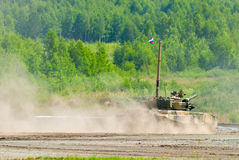 Tank platoon in action. Russia Stock Photos