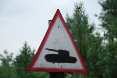 Tank road sign Stock Images