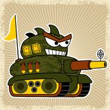 Tank robot cartoon with big cannon. Armored vehicle robot ready to fire with big cannon, vector cartoon illustration, no mesh, vector on EPS 10 Royalty Free Stock Photos