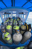 Tank on scuba diving boat Stock Image