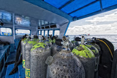 Tank on scuba diving boat Royalty Free Stock Photo