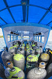 Tank on scuba diving boat Royalty Free Stock Photography