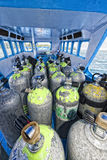Tank on scuba diving boat Stock Photos