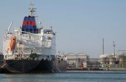 Tank ship at docks Royalty Free Stock Images