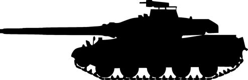 Tank  Silhouette On White Background Stock Images