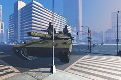 Tank. With soldiers on the streets of the modern city Stock Images