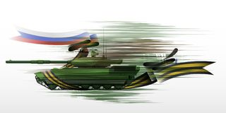 The tank with the St. George ribbon and Russian flag, vector illustration - vector eps10 vector illustration
