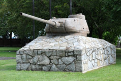 Tank on a stone pedestal Royalty Free Stock Photography
