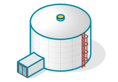 Tank for storing water, gas, oil, oxygen and solid fuels. Tank for storing water, gas, oil, oxygen and other solid fuels. Part of wastewater treatment plant stock illustration