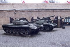 Tank on the street. a museum in Poland. Polish flag. Tank on the street. a museum in Poland. Polish flag Stock Photo