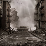 Tank on the street. War scenery with tank on the street of destroyed city Stock Photo