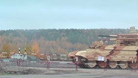 Tank Support Fighting Vehicle Terminator. Nizhniy Tagil, Russia - September 25. 2013: Tank Support Fighting Vehicle BMPT Terminator moves on the shooting stock footage