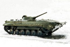 Tank swept snow. Royalty Free Stock Photography