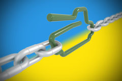 Tank symbol locked with metal chains Unkraine conflict Royalty Free Stock Photography