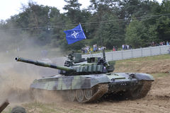 Tank T-72 M4. Modern Soviet tank T-72 M4 on the battlefield Royalty Free Stock Photo