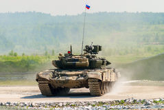 Tank T-80s in motion Royalty Free Stock Image