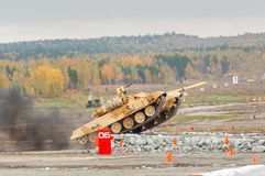 Tank T-90S movement Royalty Free Stock Images