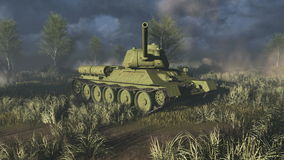 Tank T 34 take aim at the camera stock video
