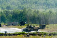 Tank T-80 after water obstacle Stock Photo