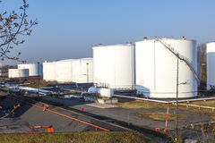 tank in tank farm with blue sky Royalty Free Stock Image