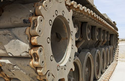 Tank Tracks. Close up image of a desert tank tracks royalty free stock image
