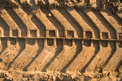 Tank tracks in the sand Stock Photo