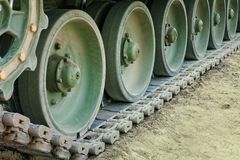 Tank. Tracks on the square Stock Image