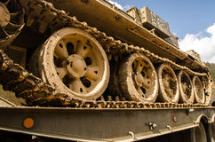 Tank on trailer. Army tank on military trailer Royalty Free Stock Photography