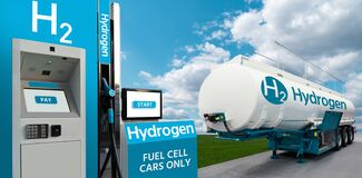 Free Tank Trailer With Hydrogen And H2 Filling Station Royalty Free Stock Photo - 215200265