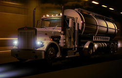 Tank Truck. Crossing a tunnel Stock Photos