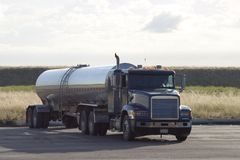 Tank Truck. A tank truck in a parking lot stock images