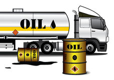 Tank truck with barrels Stock Photo