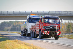 Tank Truck Being Towed by a Heavy Duty Tow Truck Stock Images