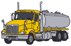 Tank truck. Big yellow american tank truck, vector illustration, hand drawing Royalty Free Stock Images