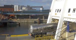 Tank Truck Boarding the Ferry Boat stock video footage