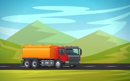 Tank truck long vehicle vector flat design. Tank truck or cistern trailer and tanker trailer transporting water, oil or petrol gas on green mountain nature Royalty Free Stock Photos