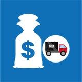Tank truck oil bag money dollar. Vector illustration eps 10 Stock Image
