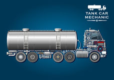 Tank truck symbol made of mechanical parts. Modern tank truck symbol with fuel tanker provided with two ladder and silhouette of truck tractor, composed of Royalty Free Stock Image