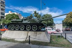 Tank used by Fidel Castro at outdoors of museo de la revolucion in La Havana, Cuba Royalty Free Stock Photography