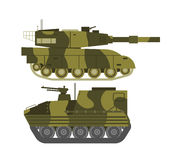 Tank  vector illustration. Self propelled artillery  with road fragment and military vehicle isolated. Tank isolated defense, heavy, soviet forces and isolated Royalty Free Stock Photo