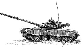 Tank. Vector image of the sketch of the old tank Royalty Free Stock Images