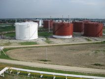 Tank the vertical steel. Capacities for storage of oil  products Stock Images