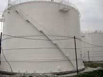 Tank the vertical steel. Capacities for storage of oil  products Royalty Free Stock Image