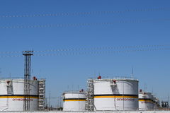 Tank the vertical steel. Capacities for storage of oil  products Royalty Free Stock Photos