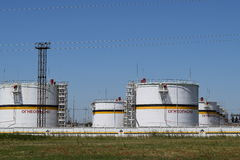 Tank the vertical steel. Capacities for storage of oil  products Stock Photography