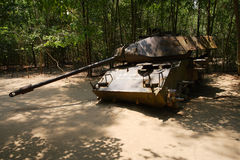 Tank in Vietnam. An American tank remains in the jungle near the Chu Chi tunnels in Vietnam Royalty Free Stock Photos
