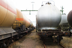 Tank Waggons. At a switch yard Royalty Free Stock Images