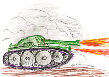 Tank in war battle. child drawing. Royalty Free Stock Photos
